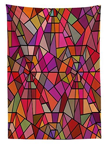 Ambesonne Tablecloth, Style Stained Glass Fractal Colorful Forms Kitchen Rectangular Table 60 W X L Multicolor