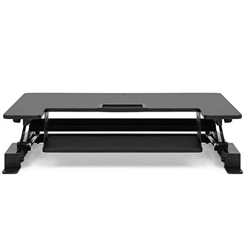 Best Products 36in 2-Tier Tabletop Desk Workstation Height Settings, Monitor 33lb Capacity Tabletop, Capacity Black