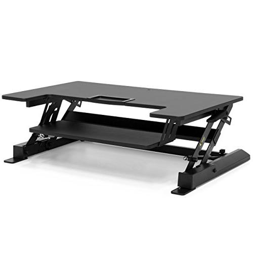 Best 36in 2-Tier Workstation Adjustable Height Settings, Monitor Riser, 33lb Capacity Tabletop, Capacity Drawer Black