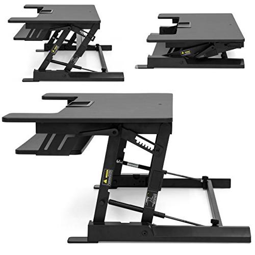 Best Choice 36in 2-Tier Standing Tabletop Workstation w/ 8 Height 33lb Capacity Tabletop, Capacity Keyboard - Black