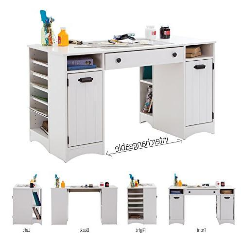 South Shore Craft Table with Storage Large Work Multiple - Pure White