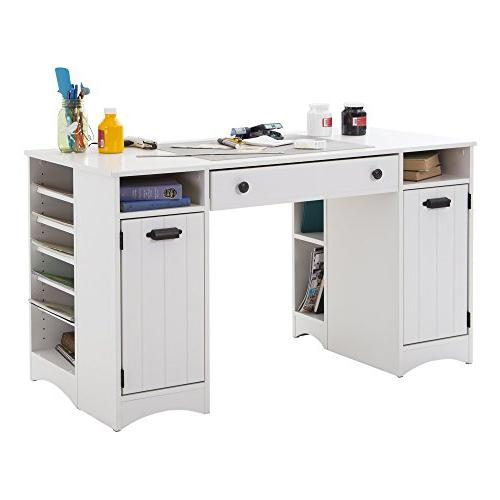 South Shore Table Large Surface Multiple Storage Pure White