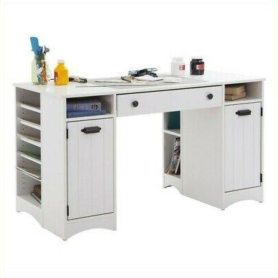 South Shore Artwork Table Storage Large Surface Multiple Storage Spaces Pure