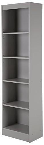 South Shore Narrow 5-Shelf Storage Bookcase, Soft Gray