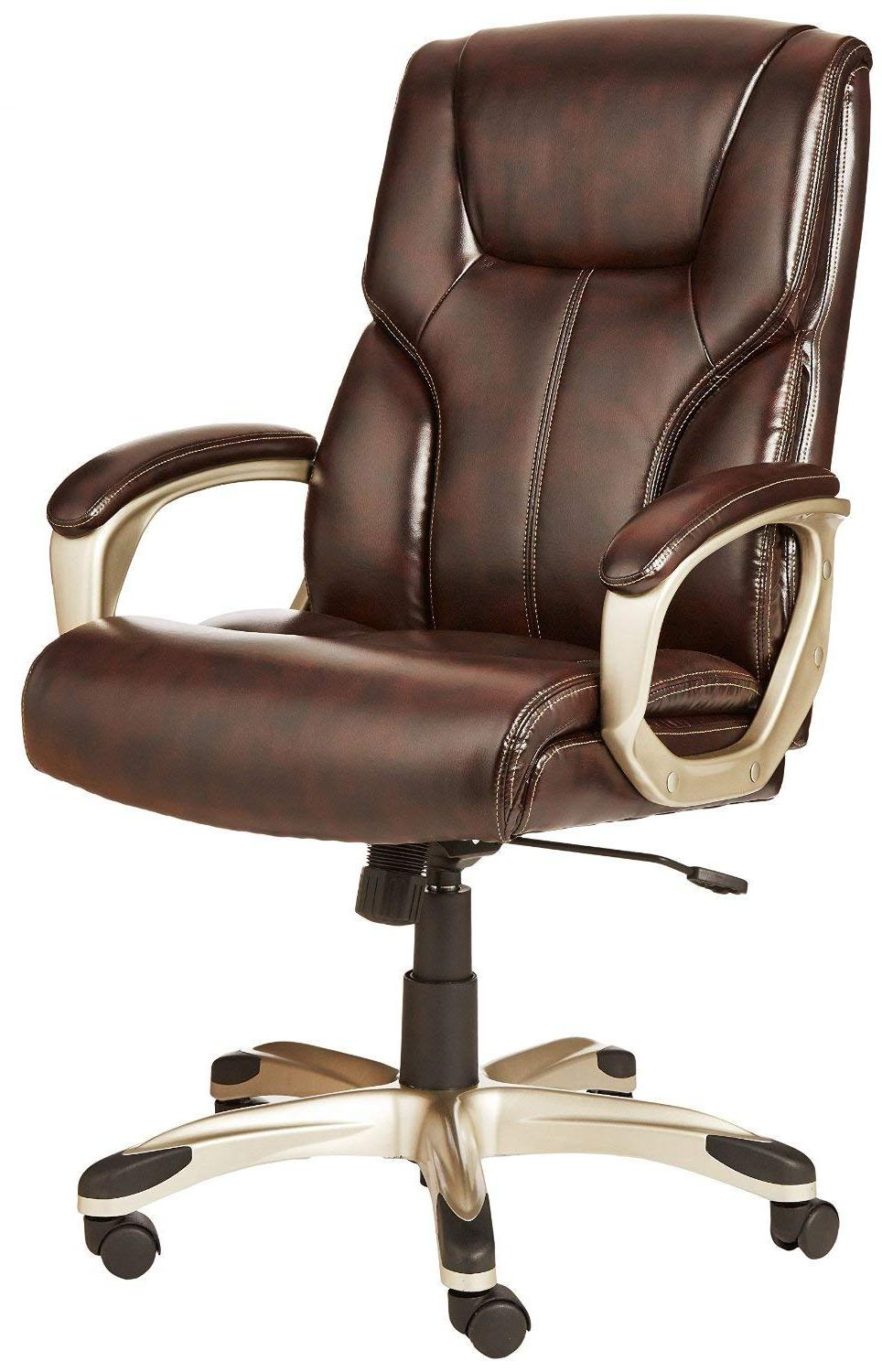 AmazonBasics High-Back Executive Chair - Brown, New, Big,