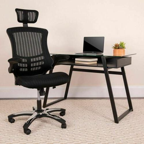 High Back Mesh Swivel Conference Chair with Flip-Up Arms