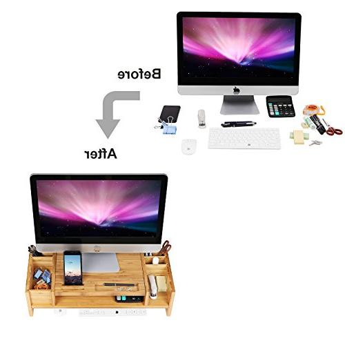 SONGMICS Bamboo Stand Riser with Adjustable Storage Organizer Cellphone TV ULLD213