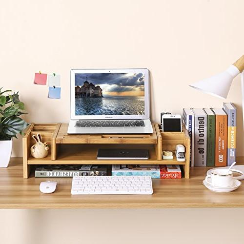 SONGMICS Bamboo Monitor Stand Riser Storage Laptop Cellphone TV Printer Stand Patented ULLD213