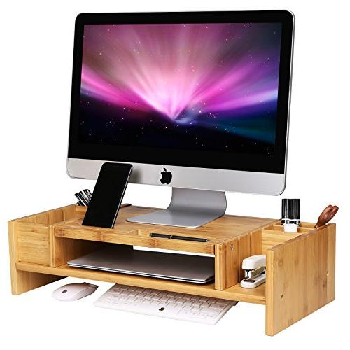 bamboo 2 tier monitor stand
