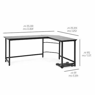 BCP Modern L-Shaped Computer Table w/ Stand
