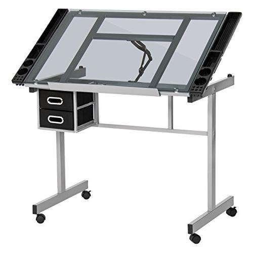 best choice products office drawing desk station tempered gl