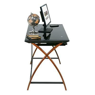 Black Glass Wood Computer Desk Pullout Keyboard Tray