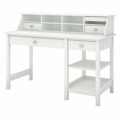 Broadview Computer Desk With Open Storage And Desktop Organi
