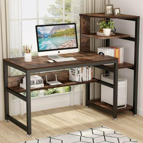 Computer Desk with Storage Shelves Tribesigns Large Industri