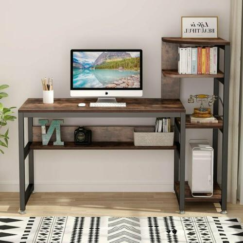 Brown Computer PC Desk Study Writing Table with Storage Shel