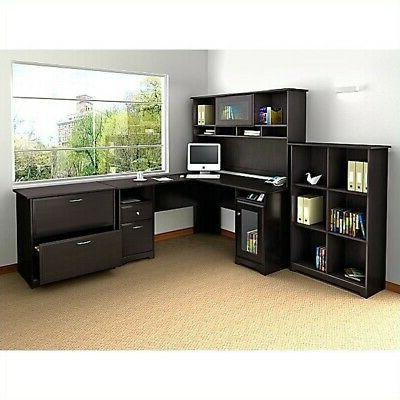 Bush Cabot 4 Piece L Shaped Computer Desk Office Set in Espr