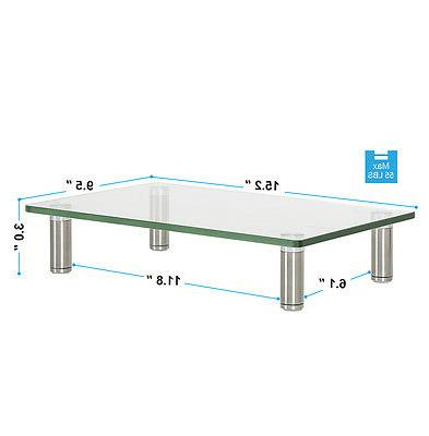 Clear Computer Stand Glass Display Riser