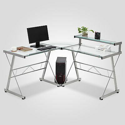 Clear L-Shape Corner Computer Desk Laptop Workstation