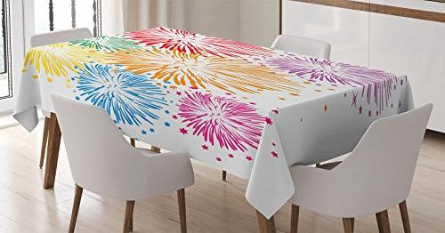 colorful home decor tablecloth ambesonne celebration firewor