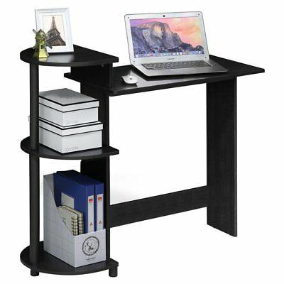 compact computer desk with shelves