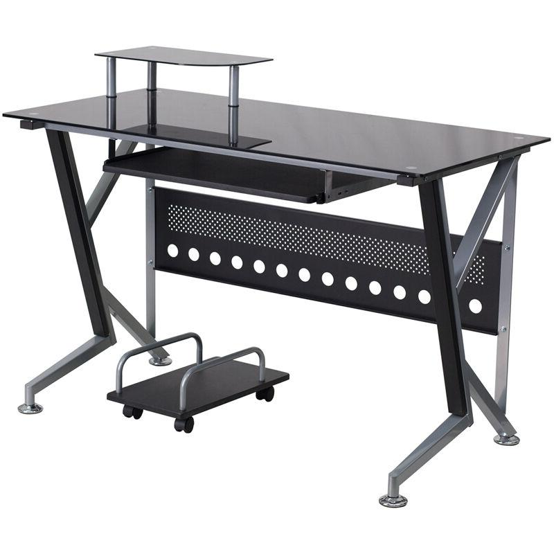 Black Glass Computer Desk with Pull-Out Keyboard Tray and CP