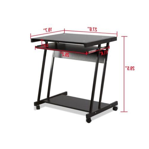 Computer Desk Laptop with 4 Roll Black
