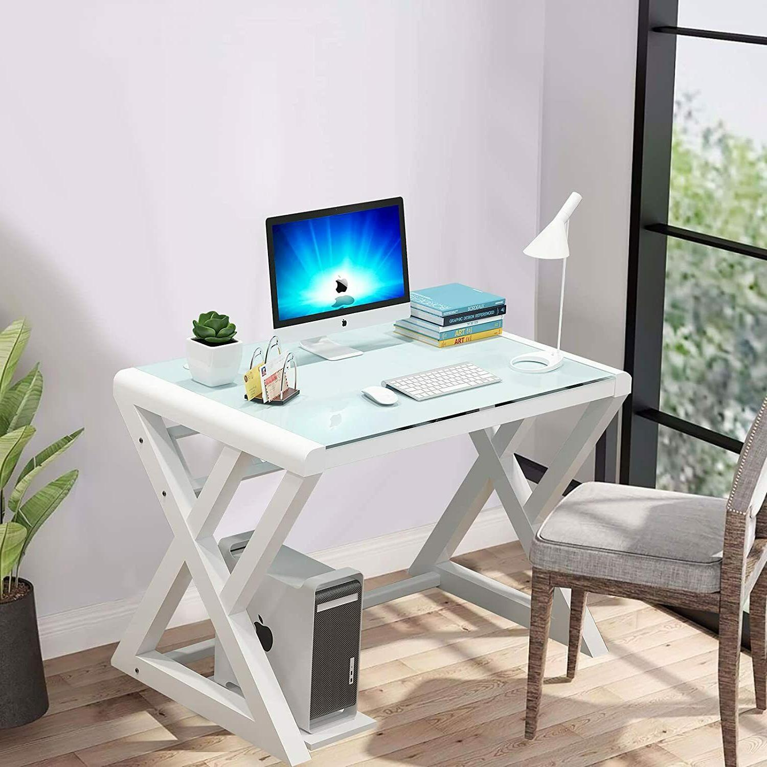 Computer Desk Gaming Table Workstation Home Office w/Glass