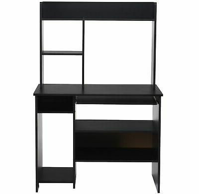Computer Study Table Bookcase Workstation Shelves&Keyboard