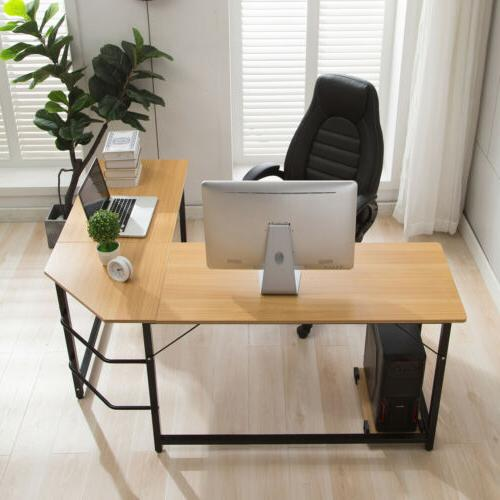 Eco-Friendly Wood L Shape Desk Computer Gaming Wriing Table