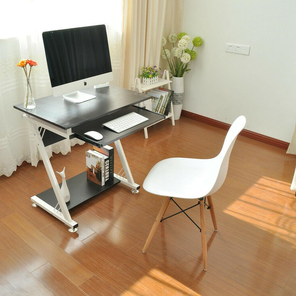 Computer Desk PC Tempered Glass Table Workstation Office Furniture