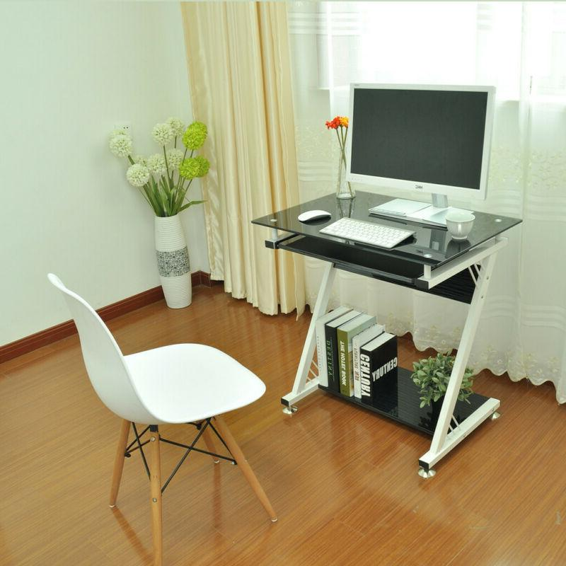 computer desk pc laptop tempered glass table