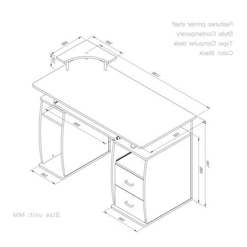 Computer PC Laptop Table Wood Home Office w/Shelf