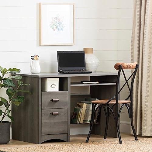 South with 2 and Keyboard Tray, Gray