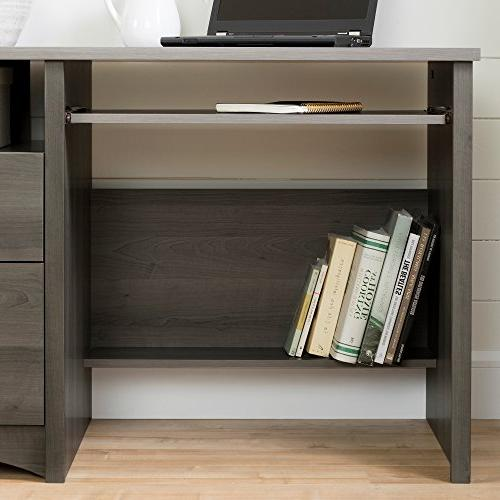 South Shore Computer Desk with 2 Drawers Keyboard Tray, Gray