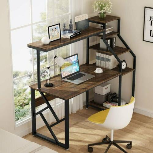 Rustic Office Desk Computer Table Workstation with Hutch Boo