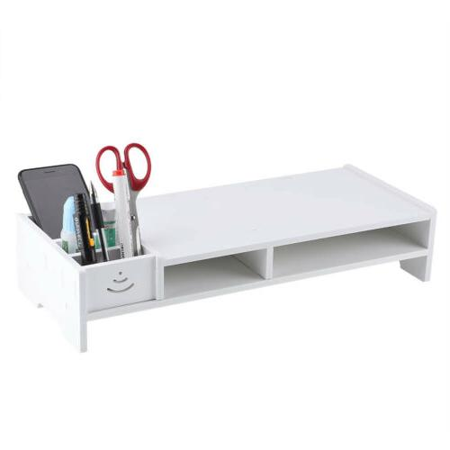 Computer Monitor Riser LCD Stand Desk Home Office White