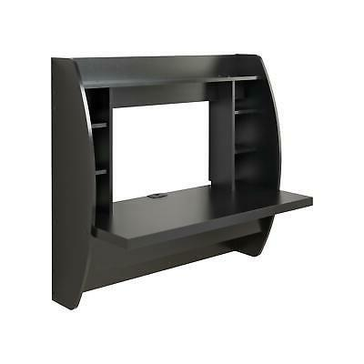 Coner Desk Floating Mounted Computer Bookshelf Storage Black