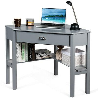 Corner Computer Desk Space Saving Writing Workstation W/ Dra