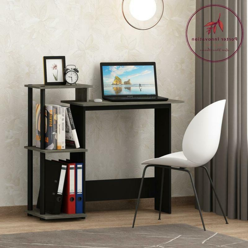 Efficient French Oak Grey And Black Home Computer Desk With
