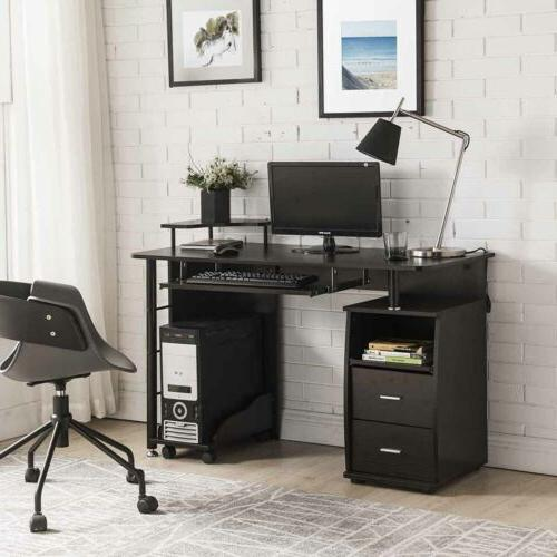 Espresso Home Office Wood Keyboard and