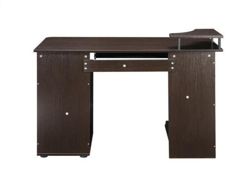 Espresso Computer Desk Home Office with Keyboard