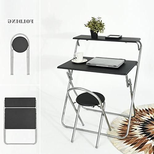 Aingoo Computer Chair Small Writing for Home Office/Teens Student Mobile Shelves Black