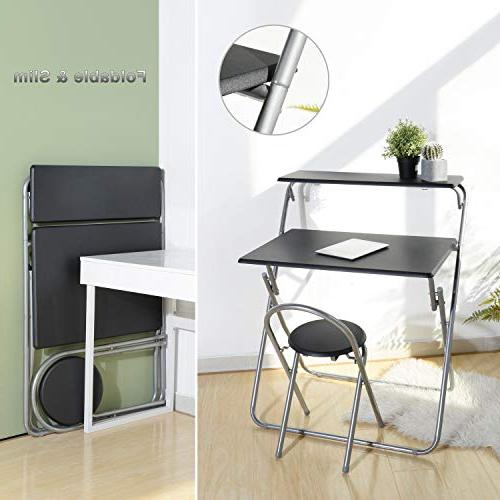 """Aingoo Chair 30"""" Writing Office/Teens Space Mobile Workstation with Shelves Black"""