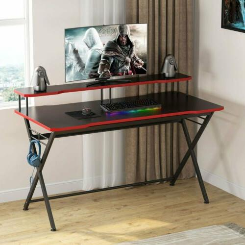 "Computer Table for Game Lovers 55"" Black Studio Desk with El"