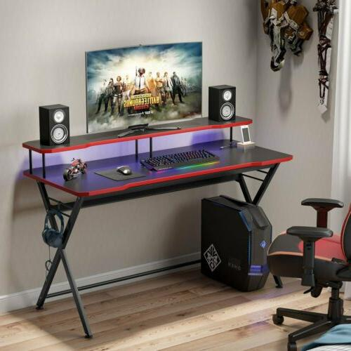 "55"" Black Gaming Table Gamer Computer Desk with Monitor Rise"