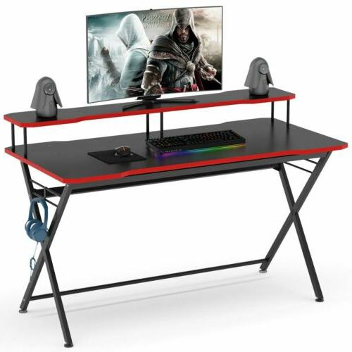 gamer computer desk with monitor riser