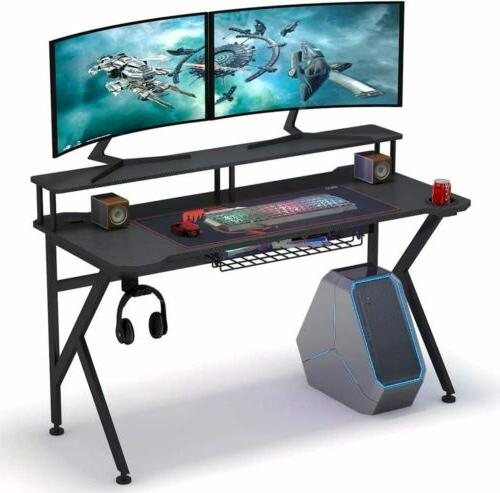 "Tribesigns Gaming Desk with Monitor Riser, 55"" Gamer Compute"