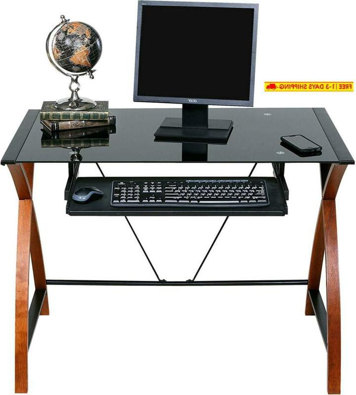 Onespace Glass And Computer Desk With Keyboard