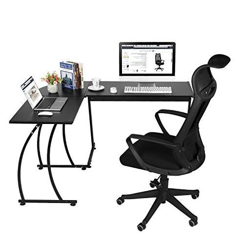 GreenForest L-Shape Corner Computer Office Table 3-Piece,Black