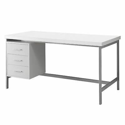 Monarch Hollow-Core/Silver Metal Office Desk, 60-Inch, White